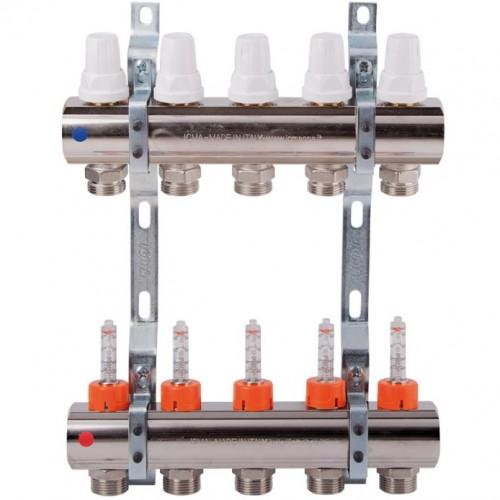 Коллектор теплого пола Icma K013 на 3 контура с расходомерами