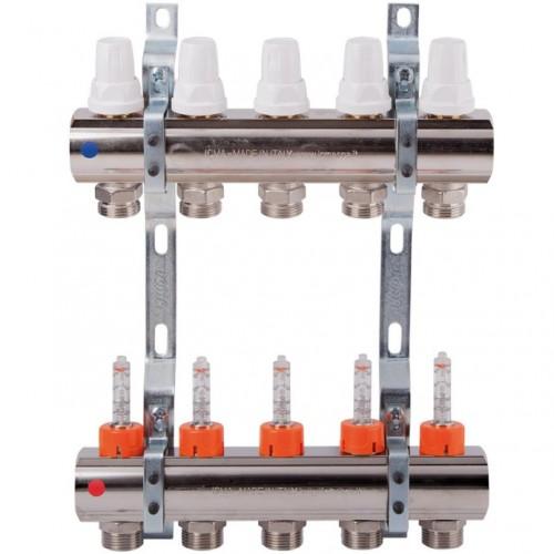 Коллектор теплого пола Icma K013 на 4 контура с расходомерами