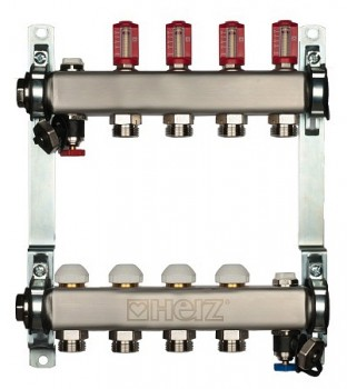 1863203 Коллектор для теплого пола Herz на 3 отвода (нержавеющая сталь)