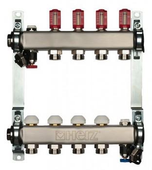 1863204 Коллектор для теплого пола Herz на 4 отвода (нержавеющая сталь)