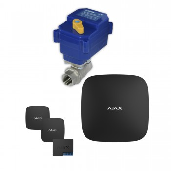 Защита от протечек воды AJAX hub + Кран с электроприводом Neptun Bugatti 220V One 1/2'' (Black)