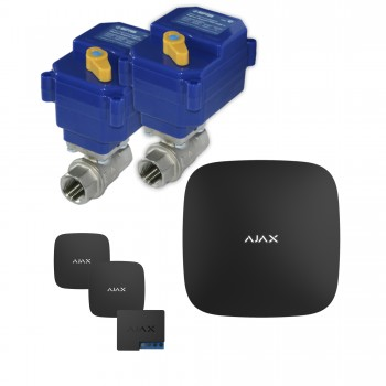 Защита от протечек воды AJAX hub + Кран с электроприводом Neptun Bugatti 220V Duo 1'' (Black)