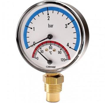 "Термоманометр радиальный Cewal 80 x 1/2"" х 6 бар x 120°C"