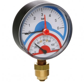 "Термоманометр радиальный AS Gruppe 80 x 1/2"" х 6 бар x 120°C"