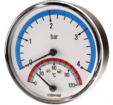 "Термоманометр фронтальный Cewal 80 x 1/2"" х 4 бар x 120°C"
