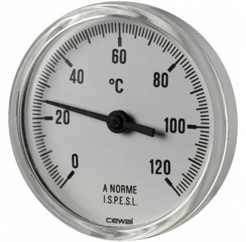"Термометр фронтальный Cewal - 80 x 1/2"" x 0/120°C"