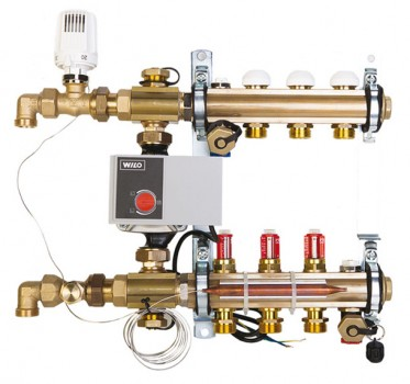 Коллектор теплого пола Compactfloor Light Herz на 4 контура с расходомерами