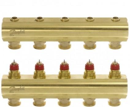 Коллектор теплого пола Danfoss FHF-5 на 5 контуров без расходомеров