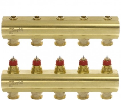 Коллектор теплого пола Danfoss FHF-7 на 7 контуров без расходомеров