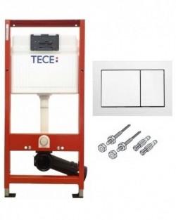 9400000 Инсталляция для подвесного унитаза комплект 3 в 1 с белой клавишей (Подходит любая панель смыва TECEbase)